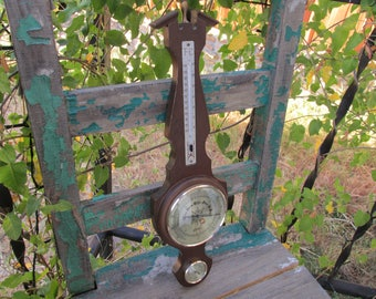 """Vintage 1960's Barometer Thermometer Hygrometer Airguide Weather Station Made in Japan measuring 17 3/4"""" x 5"""" ~ Man Cave ~ Mad Men Decor ~"""