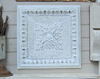 Vintage Ceiling Tin Tile. French country decor.  Framed Metal tile. Antique Architectural salvage. White distressed decor.