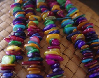 14 inch strand Mother of Pearl Large Chips, Multicolored (sold individually or as a pair), dark pink, purple, blues, greens, orange...