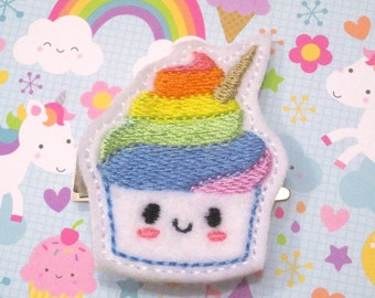 Rainbow Unicorn Cupcake Hair Clip, Unicorn, Rainbow, Cupcake, Hair Clip, Feltie, Unicake, Unicupcake, Party Favor, Felt Hair Clip, Kawaii