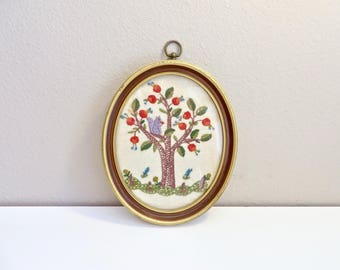 vintage squirrel and tree crewel embroidery framed art oval