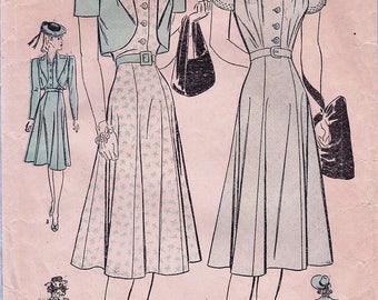 Advance 2273 / Vintage 1930s Sewing Pattern/ Dress And Bolero Jacket / Size 14 Bust 32