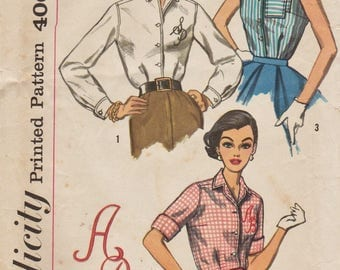Simplicity 2195 / Vintage 50s Sewing Pattern With Embroidery Transfers  / Blouse Shirt / Size 18 Bust 38