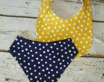 Yellow and Navy Polka Dot Bib Set