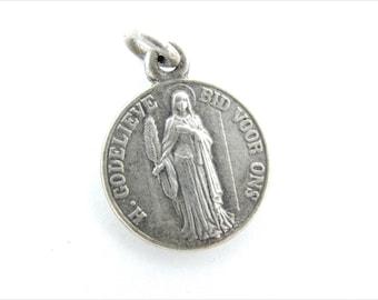 RARE Vintage Dutch Saint Godelieve Catholic Medal - Silver Religious Charm - Patron St of Weather - Catholic Jewelry  y93