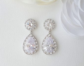 Wedding Crystal Earrings, Bridesmaid Teardrop Earrings, Bridal Crystal Earrings, Zirconia Drop Earrings, Crystal Wedding Jewelry, Evita