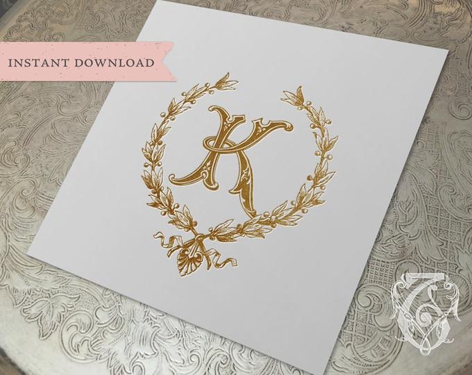 Vintage Wedding Initial K Laurel Wreath Crest Digital Download