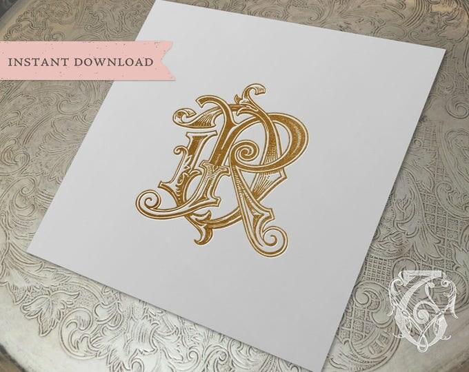 Vintage Wedding Monogram DR RD Digital Download D R