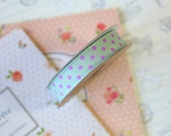 Pistachio Green & Pink Polka Dots grosgrain ribbon