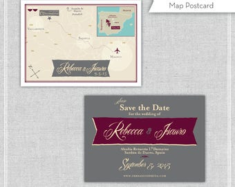 Save the Date Map - Custom Map Save the Date (same design but choose your city/location)
