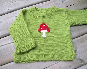 Hand Knitted Handmade Wool Baby Sweater Hand knit Baby Cardigan size Medium Ready to ship