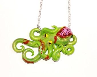 Zombie Octopus Necklace. Brains, horror, gore, blood, undead, living dead, walking dead