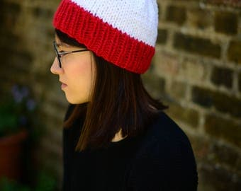 Where's Waldo Inspired Hat, Where's Wally Hat, Pom Pom Knitted Hat, Women's Knitted Hat, Men's Knitted Beanie,
