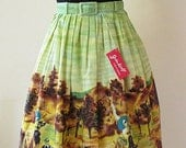 Adorable 1960s Novelty Print Border Print Skirt  with matching belt  Vintage border skirt VLV Rockabilly Size small