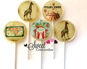 Vintage Circus Themed Lollipops- Circus Party Favors- Hard Candy- Baby Shower- Bridal Shower Favors