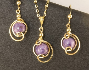 Purple Charoite Gemstone Gold Jewelry Gift Set, Violet Purple Jewelry,Russian Charoite Drop Pendant And Earrings Set,Purple Charoite Jewelry