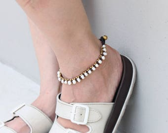 Pearl Brass Braided Anklet