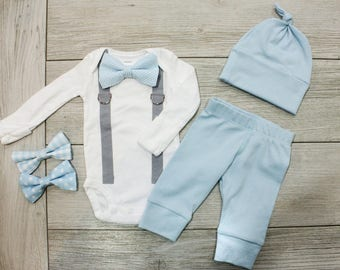 Newborn boy hospital outfit. Newborn Boy Coming Home Outfit. Newborn boy clothing. Baby boy clothes. Newborn gift. Baby Blue Gray