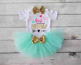 1st birthday girl outfit 1st birthday outfit Mint and Gold outfit Gold Bow- Cake Smash - 1st Birthday Girl Outfit- First Birthday Outfit