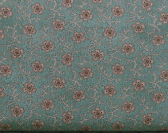 Brown Floral on Dark Teal Background 100% Cotton Quilt Fabric for Sale, Shadows and Sunshine Collection by Henry Glass HEG8721-76