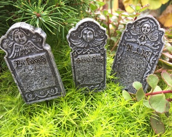 Miniature Victorian Head Stones, Grave Stones, Tombstones, Fairy Garden Accessory, Halloween Fall Decor, Set of 3 Pieces