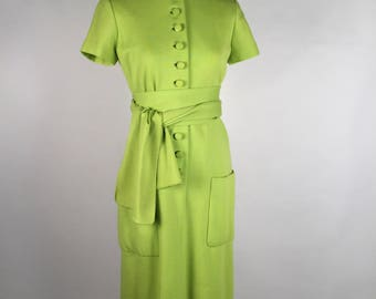 Vintage 60s Norman Norell Dress, Lime Green Day Dress, Button Front, Wool, Short Sleeve, Belt, Pockets, Mod, Chartreuse Green