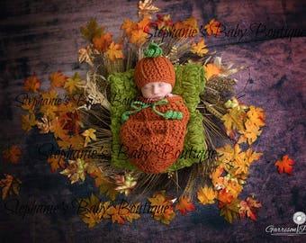 Crochet Newborn Baby Boy or Girl Mommy's Lil' Pumpkin Hat & Swaddle Sack Set, Custom, Halloween, Handmade, Photo Prop, Shower Gift, Costume