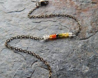 Dainty gemstone bar bracelet - Autumn colors - cubic zirconium layering bracelet  - semiprecious gemstone - faceted gem stacking bracelet