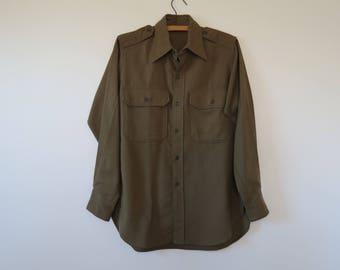 1950s Vintage Military Issue Khaki Green Wool Field Shirt - Korean War Era - Chest 40 Neck 14