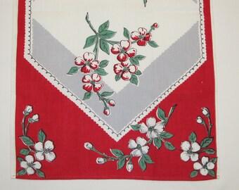 Vintage Kitchen Towel  Dogwood Blossoms