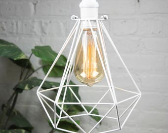 Diamond Cage Pendant Any Color Custom Pendant Lamp Modern Industrial Pendant Light Fixture Hardwired Ceiling Lighting