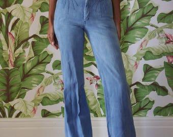 1970's Bell Bottoms / Light Wash Blue Jeans / Boho Festival Denim / Washed out Jeans / Blue Jean Baby / Bell Bottom Blue Jean Baby