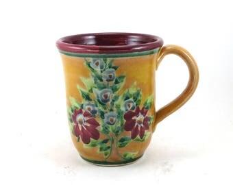 Glazed Pottery Mug - OOAK Handmade Coffee Mug with Red and Blue Flowers - Gold Tea Cup -  Red Inside
