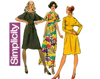 Simplicity 5060 Womens Batwing Sleeve Midriff Band Dress 70s Vintage Sewing Pattern Size 12 Bust 34 Inches UNCUT Factory Folded