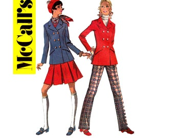60s Jacket Pleated Skirt Pants Pattern McCall's 9727 Preppy Mod Vintage Sewing Pattern Size 12 Bust 34 inches