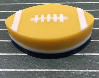 Football Soap Blue and Gold Soap Glycerin Football Soap Navy and Maize Sports Fan Soap Guest Size Soap Football Party Soap
