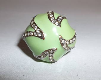 Vintage Ring Size 9 Costume Silver Green Enamel with Faux Diamonds Copper Jewelry Sparkly Woman's Rhinestone Style Accessory wvluckygirl