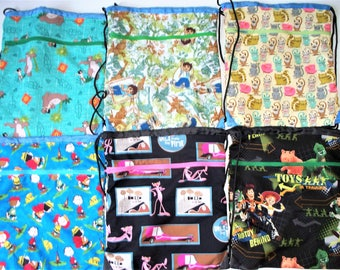 Fabric Covered,Nylon Lined,Drawstring Backpack,Your Choice; Jungle Book, Diego,Toy Story,Charlie Brown,Multi Cats, Pink Panther, OOAK,RTS