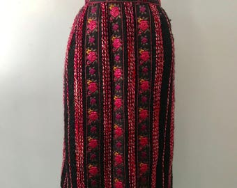 60's LANVIN Ribbon Trim and boucle Wool Embroidered Folk Skirt m-l 1960s vintage