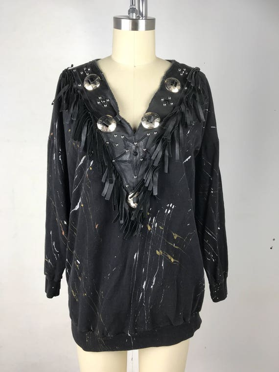80s Black Leather Fringe Paint Splatter Sweatshirt