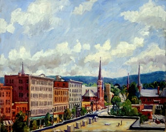 North Adams Steeples, Main Street. Original Oil Painting, 16x20 American Impressionist Landscape, Signed Original Realist Oil on Canvas