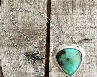 Large Pear Shaped or Teardrop Brown Bright Green Chrysoprase Pendant Necklace | Boho | Statement Necklace | Green Gemstone Necklace