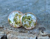 Real Flower Earring Studs - Rose Gold, boho jewelry, earring posts, nature, gifts for her, bohemian, silver, petals, floral, botanical, gift