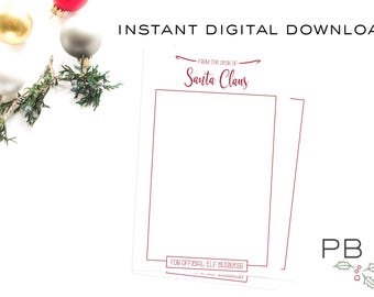 INSTANT DOWNLOAD From the desk of Santa Official Elf Business 4x6 Note Paper