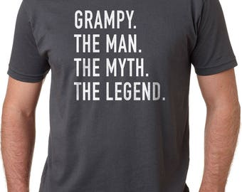 Fathers Day Gift Grampy The Man The Myth The Legend Mens T Shirt Dad Shirt Father Shirt Husband Gift Grampy T Shirt The Man Shirt