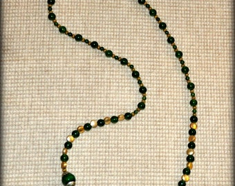 """Jade and Brass Necklace 24"""""""