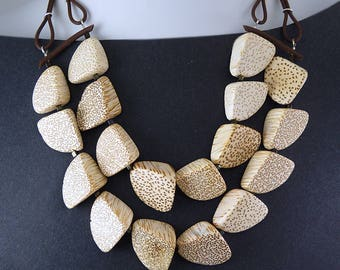 Natural Wood Nuggets Two-Strand Statement Necklace.