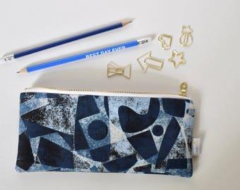 Blue Pencil Pouch, Pencil Storage Pouch, Blue Zipper Pouch, School Supply Case, Pencil Case, Pen Storage Makeup Brush Pouch Pencil Organizer