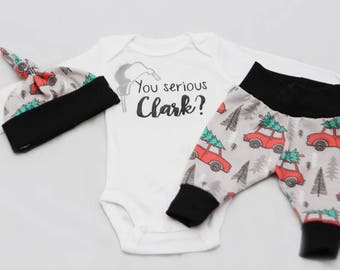 You Serious Clark?,Christmas Newborn Coming Home Outfit, baby boy coming home outfit-Jersey knit Leggings, Knot Hat, and Bodysuit