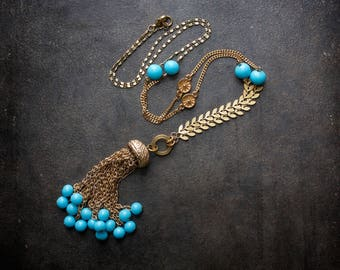 Turquoise Tassel Necklace Gold Chevron Chain Vintage Assemblage Antique Jellyfish Gold Curb Chain Repurposed Flapper Retro Long Wheat Chain